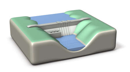 stockpile: Miniature architectural models of Dam. 3D illustration, Stock Photo