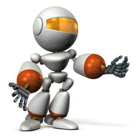rebuttal: Cute robot resists desperately. 3D illustration