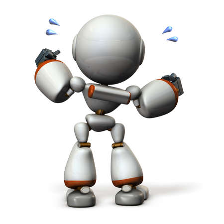 Cute robot will cheer hard. 3D illustration, Stock Photo
