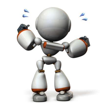 guts: Cute robot will cheer hard. 3D illustration, Stock Photo