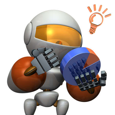 strategize: Cute robot strategize with the pie chart. 3D illustration