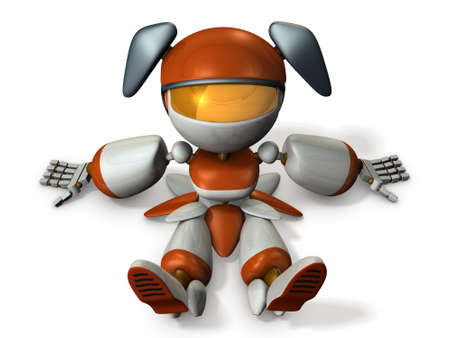 outage power: Cute robot had stopped at the dead battery. 3D illustration Stock Photo