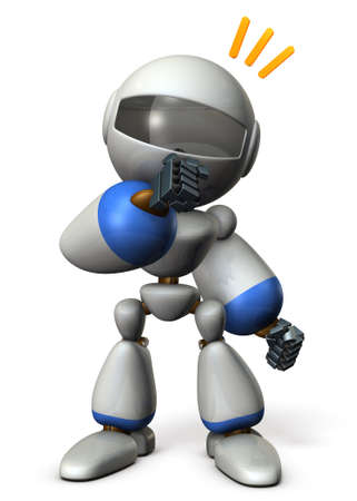 Cute robot has guessed the real intention of the other. 3D illustration