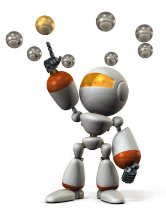 Cute robot will select the correct answer. 3D illustration