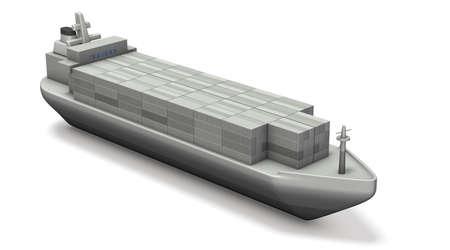 コンテナー船のミニチュア モデル。3 D イラストレーション