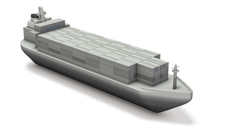 miniature: Miniature model of container ship. 3D illustration