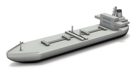 tanker: Miniature model of the tanker. 3D illustration Stock Photo