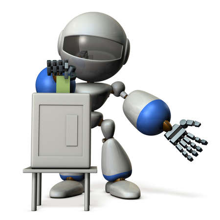 electronic voting: Cute robot will vote.  3D illustration