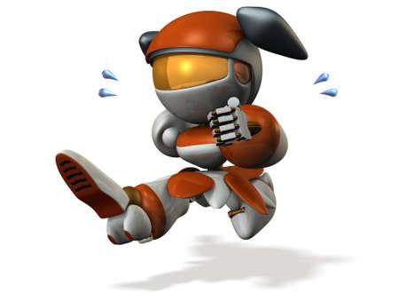 Schattige robot is noodsituatie. 3D illustratie