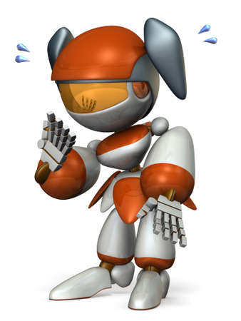 shy: Cute robot is too shy. 3D illustration Stock Photo