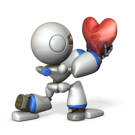 heart intelligence: Cute robot hold out his sincerity. 3D illustration
