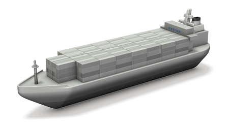 コンテナー船のミニチュア モデル。3 D イラストレーション 写真素材 - 62588289