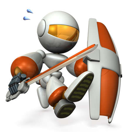 robot with shield: Robot with a big sword and shield, runs in order to capture. 3D illustration Stock Photo
