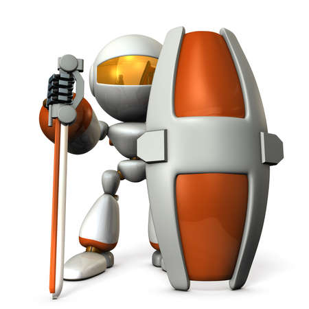 humanoid: Gatekeeper robot with a large shield. 3D illustration Stock Photo