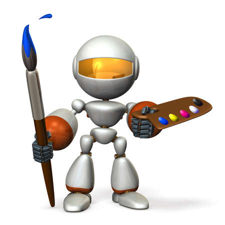 The cute robot has a large paintbrush and palette. 3D illustration