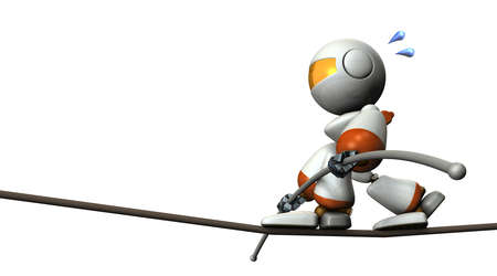 かわいいロボットが綱渡りです。彼は長いバランスのバーです。3 D イラストレーション