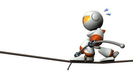 high tension: Cute robot has a tightrope. He has a long balance bar. 3D illustration