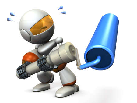 Cute robot has a roller. He is painter. 3D illustration