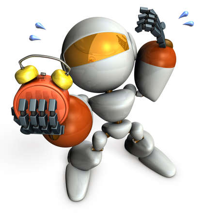 Cute robot was overslept.  3D illustration Stock Photo