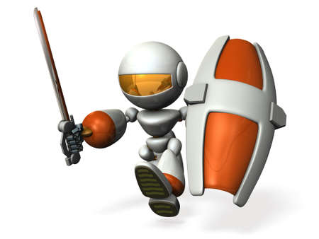 robot with shield: The robot is assaulting. 3D illustration