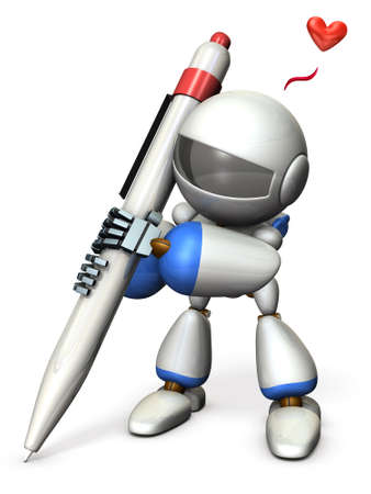 writing instruments: Cute robot draws while excited. 3D illustration