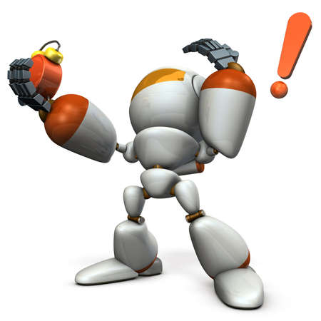 overslept: Cute robot was overslept.  3D illustration Stock Photo