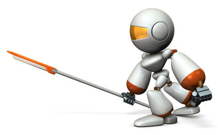 systemic: Robot warrior with a large spear. 3D illustration