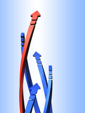 friendly competition: 5 arrows to rise while tangled in a spiral. 3D illustration Stock Photo