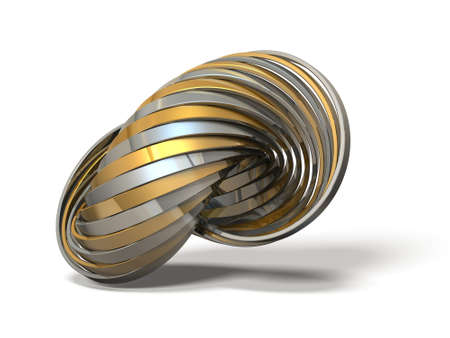 entangled: Ring made of overlapping metal in many layers. 3D illustration