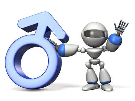Gender symbol with Robot. 3D rendering Stock Photo