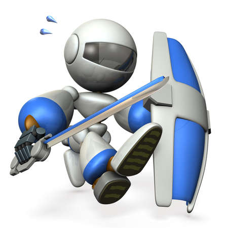 Robot with a big sword and shield, runs in order to capture. 3D illustration Stock Photo