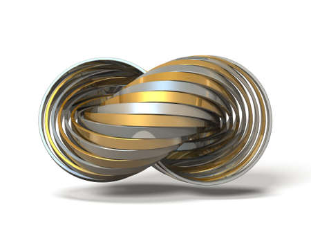 worse: Ring made of overlapping metal in many layers. 3D illustration