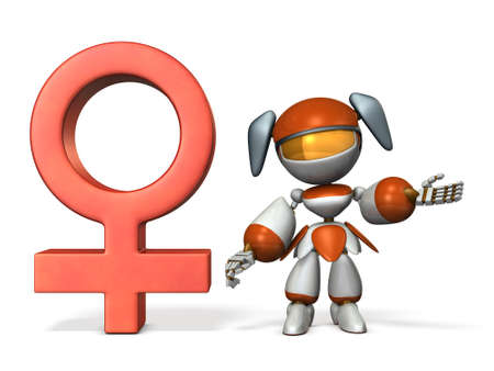 Gender symbol with Robot. 3D rendering Stock Photo