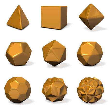 chamfer: Models of polyhedron. rounded chamfer. 3D illustration