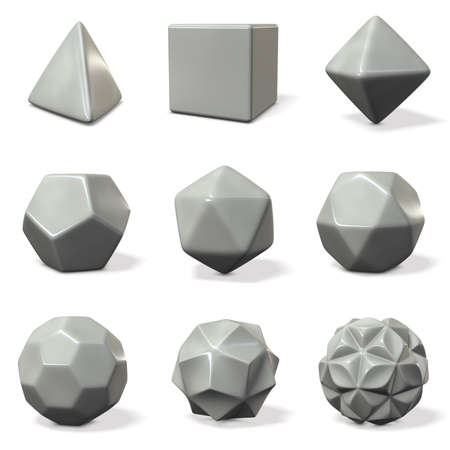 truncated: Models of polyhedron. rounded chamfer. 3D illustration