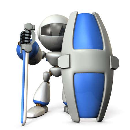 Gatekeeper robot with a large shield. 3D illustration 写真素材