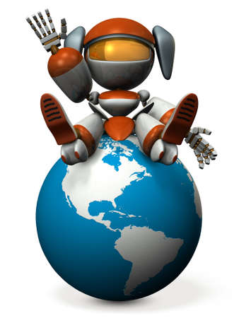 Cute robot invites you to USA. 3D illustration Stock Photo