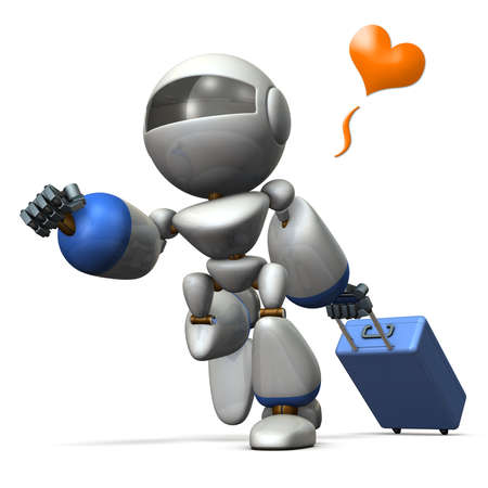 Cute robot is starting to travel. 3D illustration Stock Photo