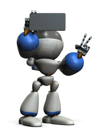 Cute robot is taking a picture by himself. 3D illustration Stock Photo