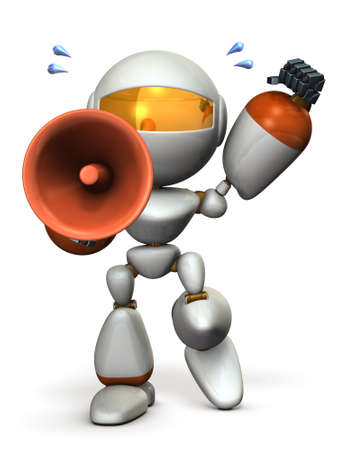 Cute robot with a loudspeaker is cheering. 3D illustration