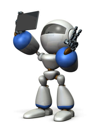 commemorative: Cute robot is taking a picture by himself. 3D illustration Stock Photo