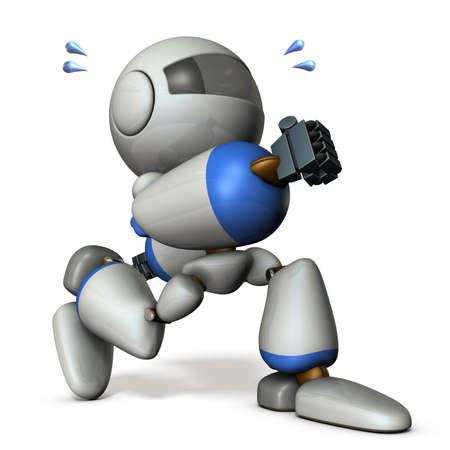 cheeky: Cute robot has run away secretly. 3D rendering