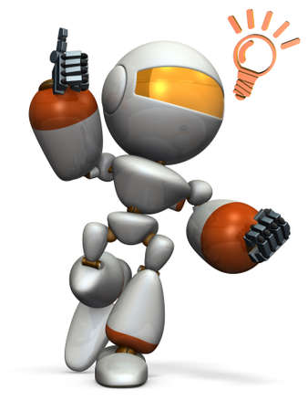 Cute robot came up with a good idea. 3D illustration Stock Photo