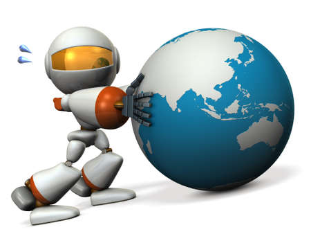 prevent: Cute robot protects the Asia. He will prevent the falling. 3D illustration Stock Photo