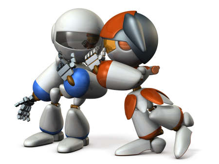 talking robot: Two robots are whispering secret story. 3D illustration Stock Photo
