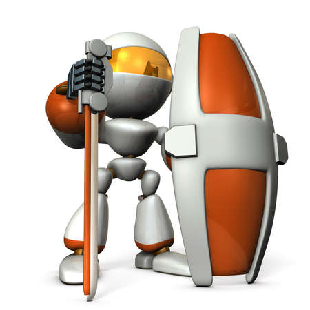 robot with shield: Gatekeeper robot with a large shield. 3D illustration Stock Photo