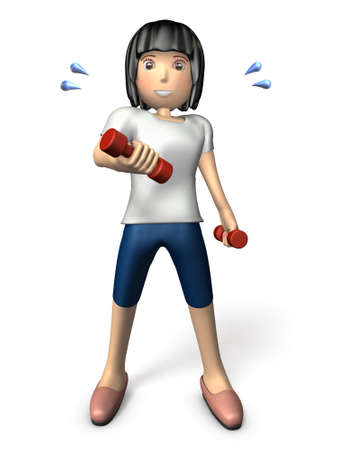 physical training: Young Asian women exercise with a dumbbell. 3D illustration, front view