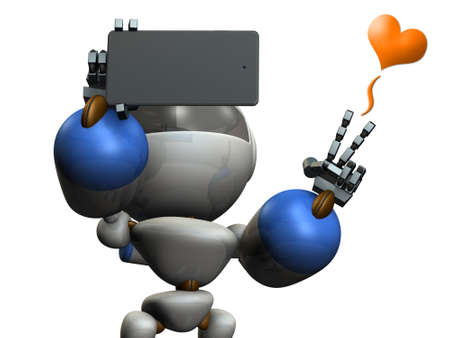 airs: Cute robot is taking a picture by himself. 3D illustration Stock Photo