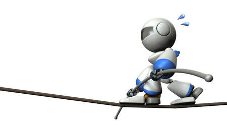Cute robot has a tightrope. He has a long balance bar. 3D illustration