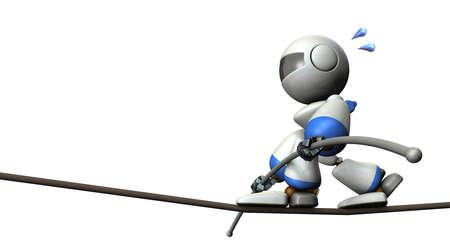 Robot mignon a une corde raide. Il dispose d'un bar équilibre à long. illustration 3D Banque d'images - 65892531